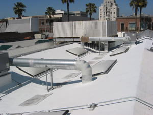 Large scale retail building in Santa Monica with modified roofing and elastomeric coating