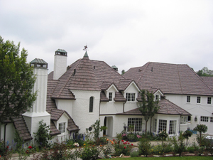 Staggered Auburn tile with copper gutter and 
